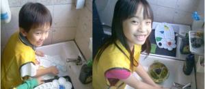 kids washing up