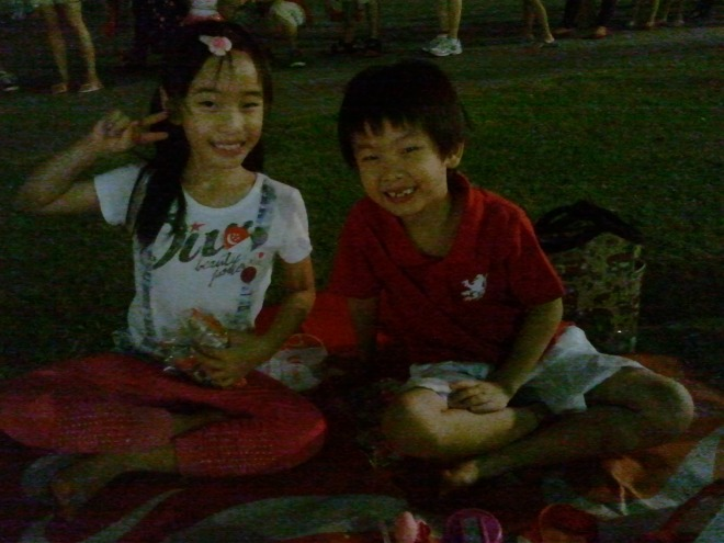 XX and YH enjoying their picnic
