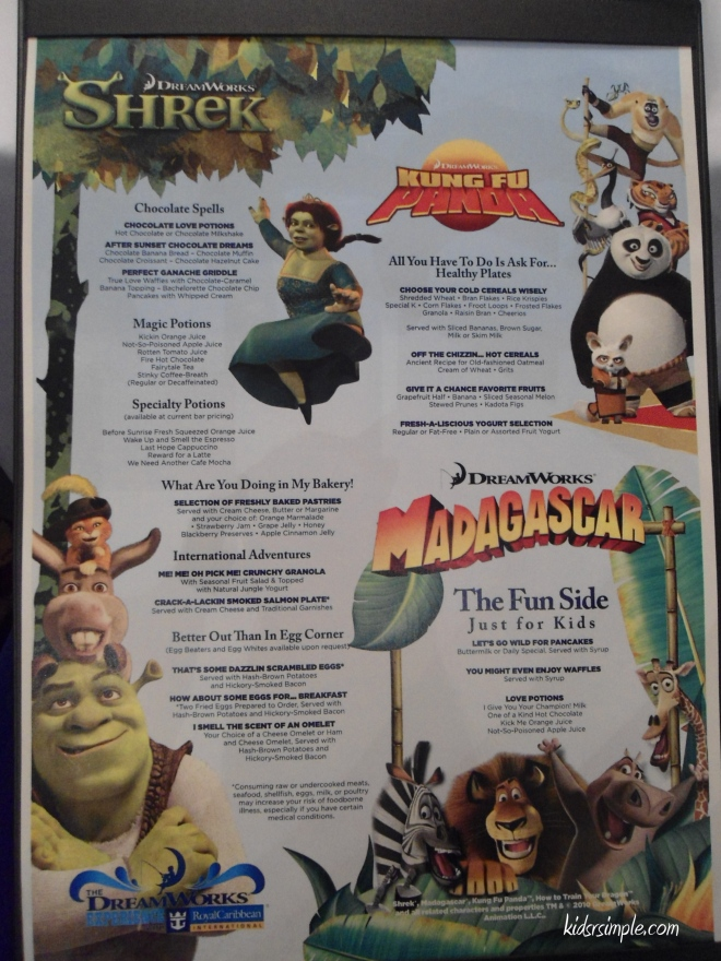 Dreamworks character breakfast menu