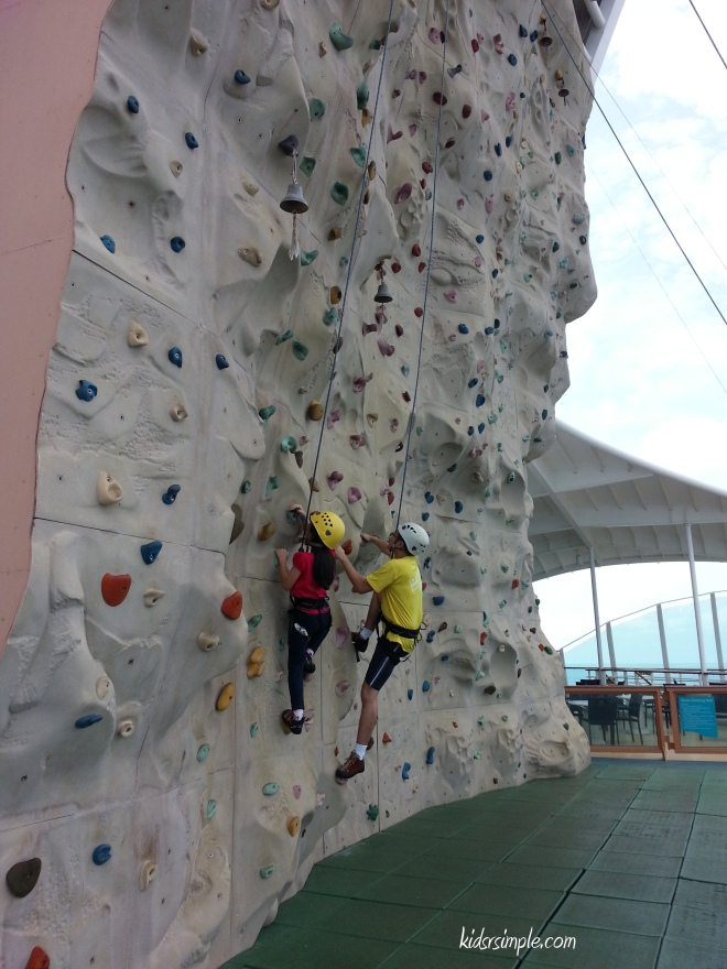 Kel and XX had a successful climb at the Rock Climbing Wall.