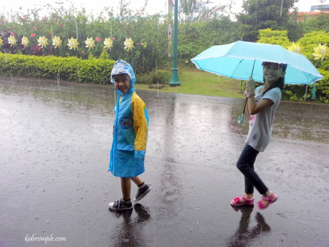 It's the typhoon period and the kids were enjoying walking in the rain!