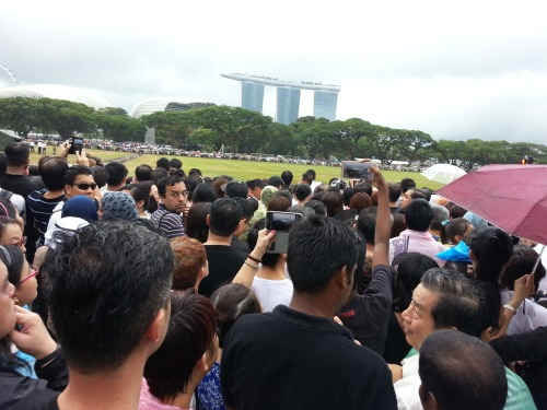 People lining the streets at Padang to pay their last respects.