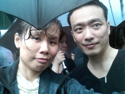 Kel and I, totally drenched. No one left and united we were.