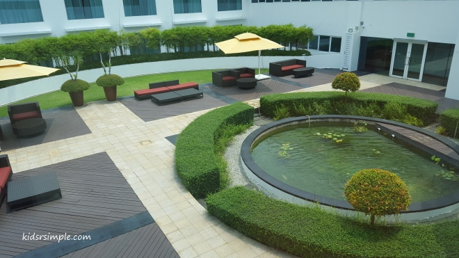 Koi pond at Village Hotel Changi