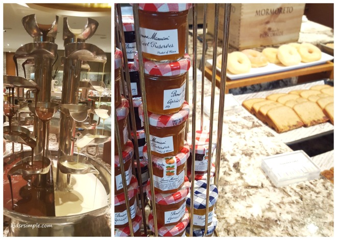 The left photo is the duo chocolate fondue at dinner buffet and the one on the right is the breakfast jam spread.