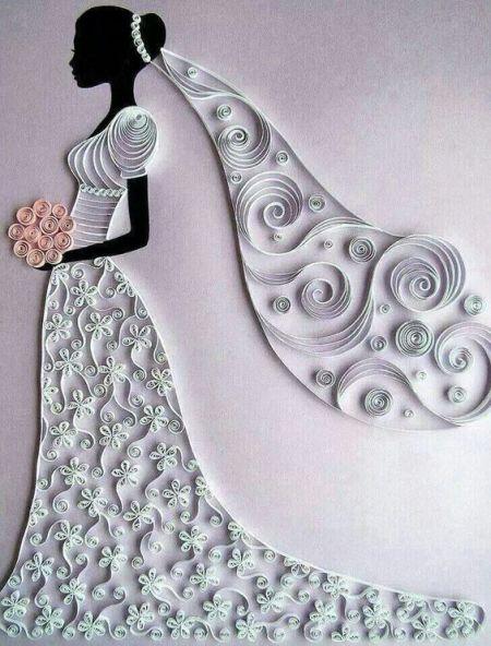 Bride paper quilling art